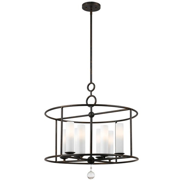 Crystorama Cameron 24-inch Round English Bronze 8-light Chandelier
