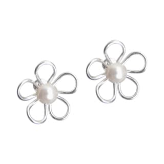 Mystic Flower Freshwater Pearl Center .925 Silver Earrings (Thailand)