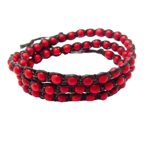 Handmade Triple Wrap Charm Red Coral Stones Cotton Rope Bracelet (Thailand)