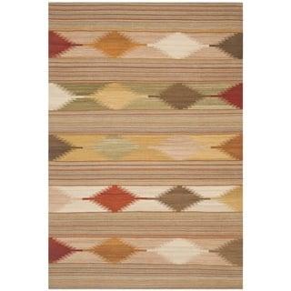 Safavieh Hand-woven Kilim Natural/ Multi Wool Rug (4' x 6')