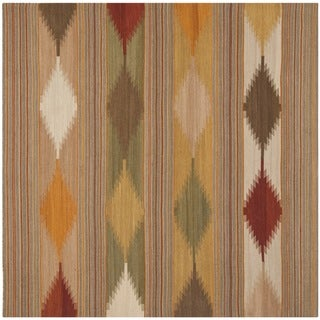 Safavieh Hand-woven Kilim Natural/ Multi Wool Rug (7' x 7' Square)