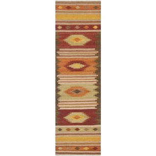 Safavieh Hand-woven Kilim Brown/ Multi Wool Rug (2'3 x 8')