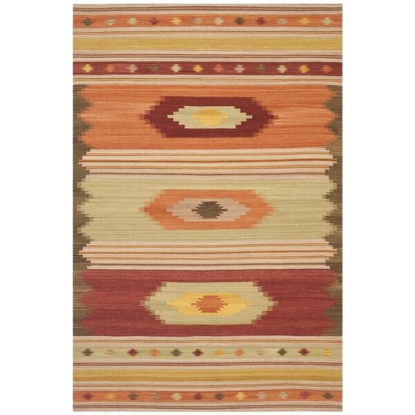 Safavieh Hand-woven Kilim Brown/ Multi Wool Rug (4' x 6')
