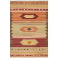 Safavieh Hand-woven Southwestern Kilim Brown/ Multi Wool Rug - 6' x 9'