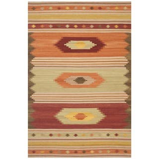 Safavieh Hand-woven Kilim Brown/ Multi Wool Rug (9' x 12')|https://ak1.ostkcdn.com/images/products/7888890/7888890/Safavieh-Hand-woven-Navajo-Kilim-Brown-Multi-Wool-Rug-9-x-12-P15270673.jpg?impolicy=medium