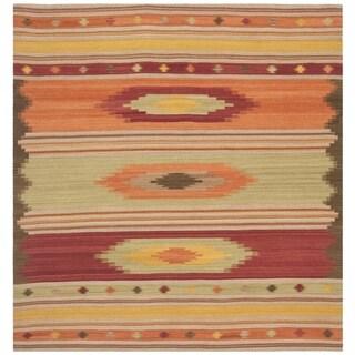 Safavieh Hand-woven Kilim Brown/ Multi Wool Rug (7' x 7' Square)