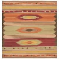 Safavieh Hand-woven Kilim Brown/ Multi Wool Rug - 7' Square