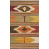 Safavieh Hand-woven Kilim Red/ Multi Wool Rug (3' x 5') - 3' x 5'