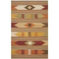 Safavieh Hand-woven Kilim Red/ Multi Wool Rug - 4' x 6'