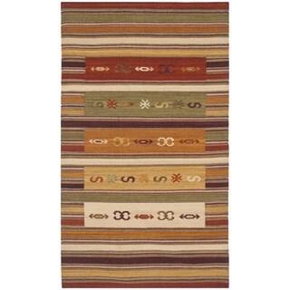 Safavieh Hand-woven Kilim Burgundy/ Multi Wool Rug (3' x 5')
