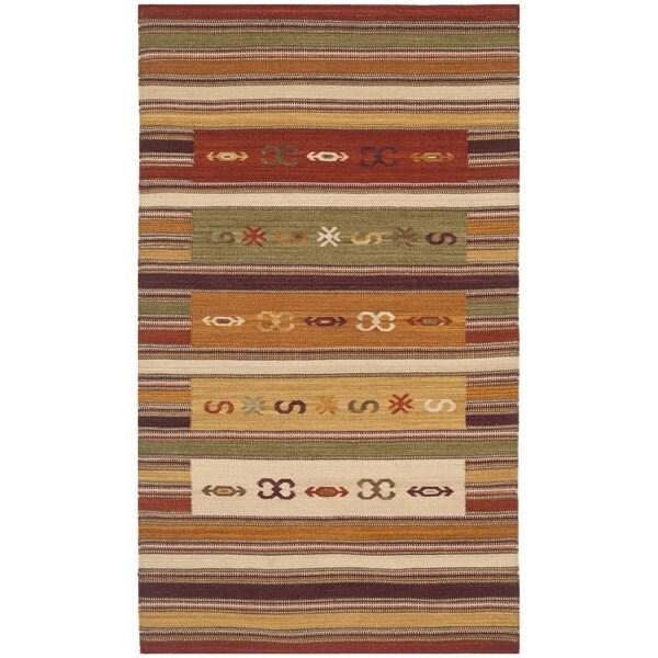 Safavieh Hand-woven Kilim Burgundy/ Multi Wool Rug - 3' x 5'
