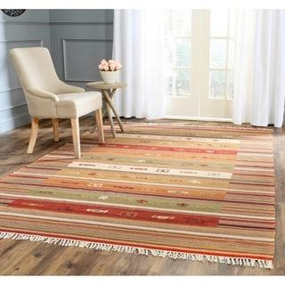 Safavieh Hand-woven Kilim Burgundy/ Multi Wool Rug (6' x 9')
