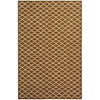 Safavieh Hand-hooked Newport Chocolate/ Ivory Cotton Rug - 7'9 x 9'9