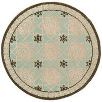 Safavieh Hand-hooked Newport Teal/ Ivory Cotton Rug - 6' x 6'