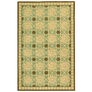 Safavieh Hand-hooked Newport Teal/ Ivory Cotton Rug (8'6 x 11'6)