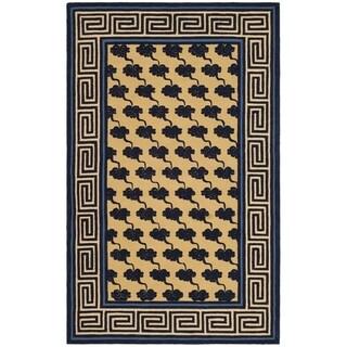 Safavieh Hand-hooked Newport Beige/ Blue Cotton Rug (7'9 x 9'9)