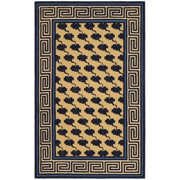 Safavieh Hand-hooked Newport Beige/ Blue Cotton Rug - 7'9 x 9'9