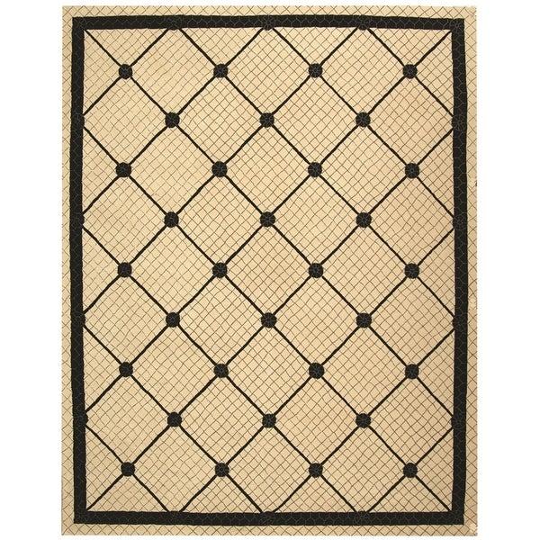 Safavieh Hand-hooked Newport Ivory/ Black Cotton Rug - 7'9 x 9'9