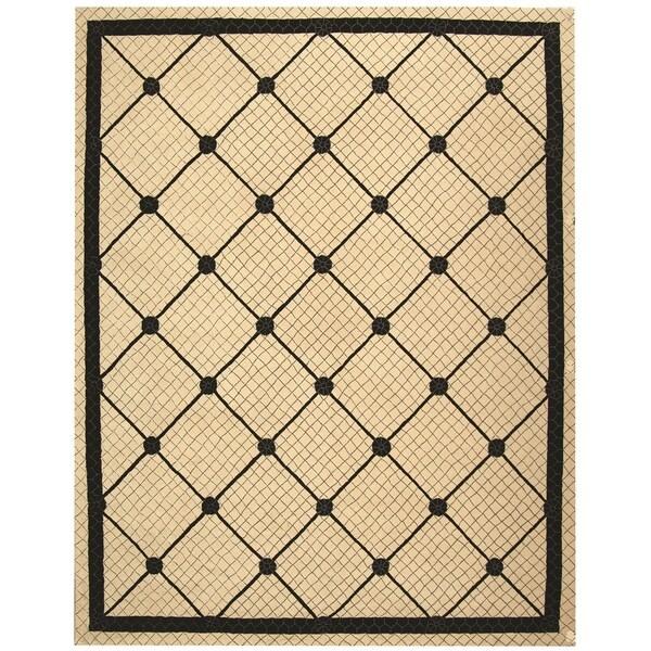 "Safavieh Hand-hooked Newport Ivory/ Black Cotton Rug - 8'6"" x 11'6"""