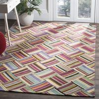 Safavieh Hand-woven Straw Patch Pink/ Multi Wool Rug - 6' x 9'
