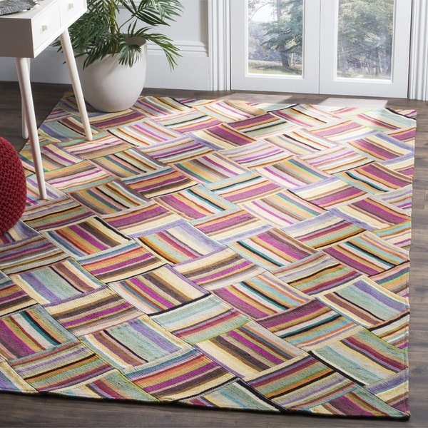 Shop Safavieh Hand-woven Straw Patch Pink/ Multi Wool Rug