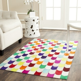 Safavieh Hand-woven Studio Leather Contemporary Ivory/Multicolored Rug (3' x 5')