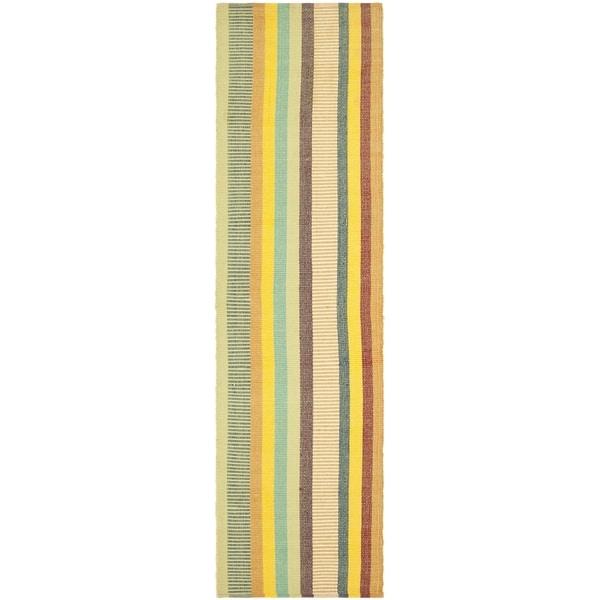 Safavieh Hand-woven Penfield Yellow/ Multi Cotton Rug (2'6 x 8')