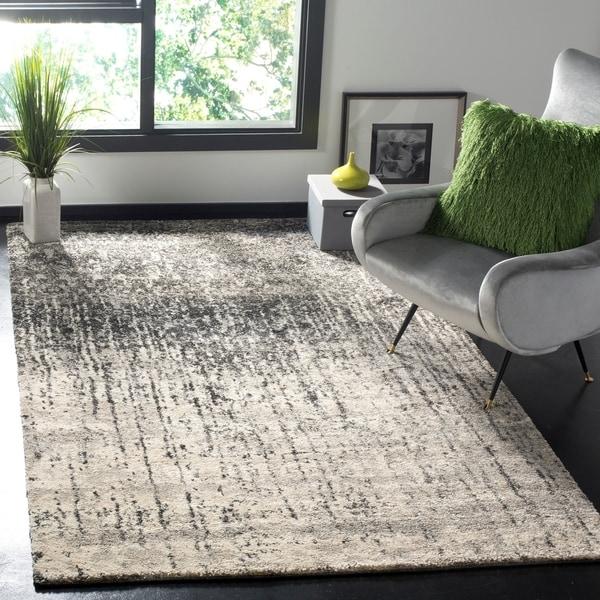 Safavieh Retro Mid-Century Modern Abstract Black/ Light Grey Distressed Rug - 8'9 x 12'