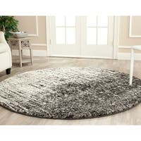 Safavieh Retro Mid-Century Modern Abstract Black/ Light Grey Distressed Rug - 8' Round