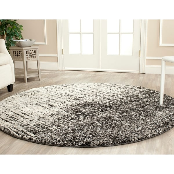 Safavieh Retro Mid-Century Modern Abstract Black/ Light Grey Distressed Rug - 8' x 8' Round