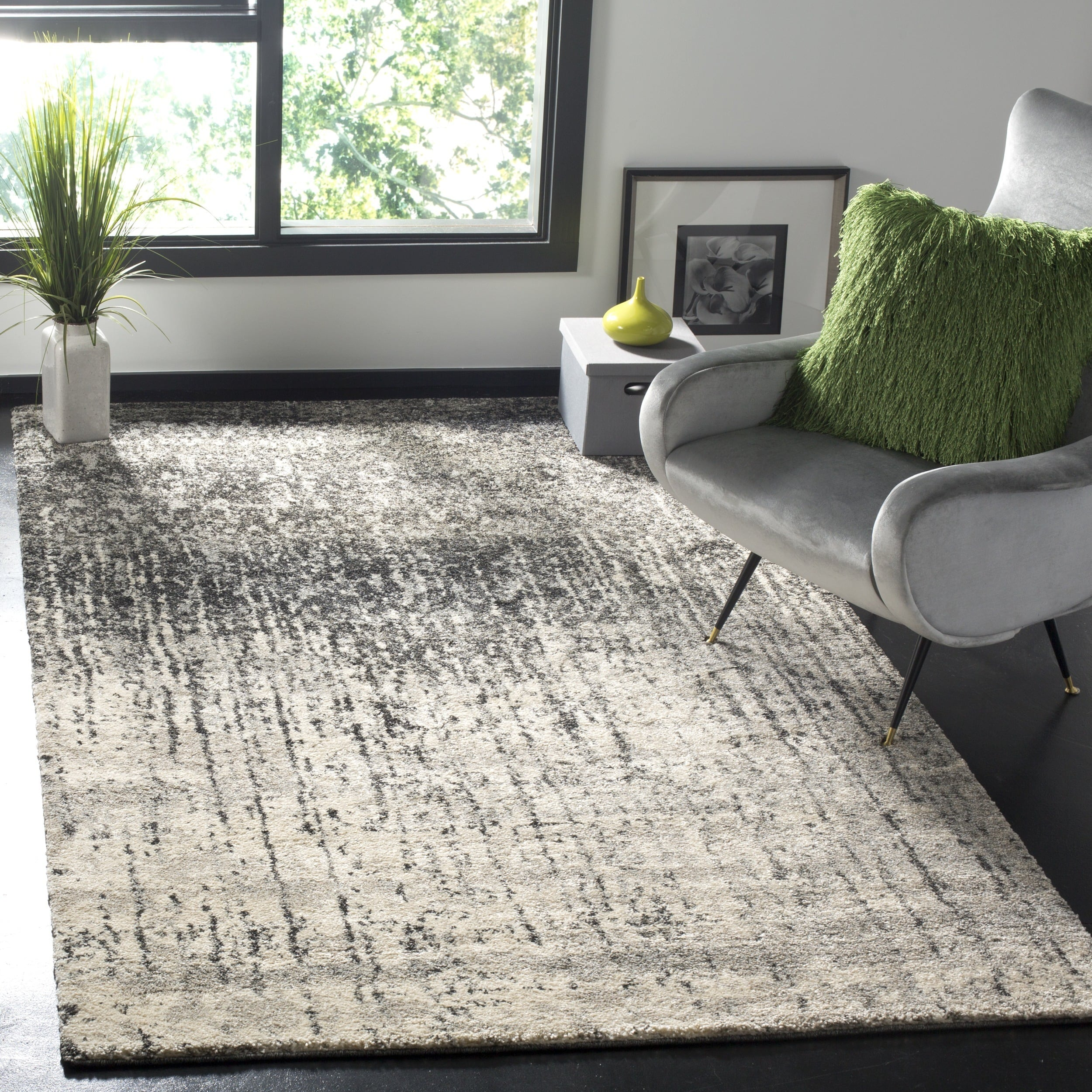 Safavieh retro mid century modern abstract black light grey distressed rug 8