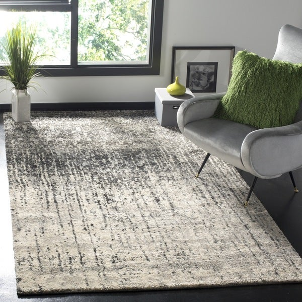 Safavieh Retro Mid-Century Modern Abstract Black/ Light Grey Distressed Rug - 8' x 8' Square