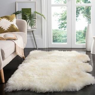 Safavieh Hand-woven Sheepskin Pelt White Shag Rug (3' x 5')