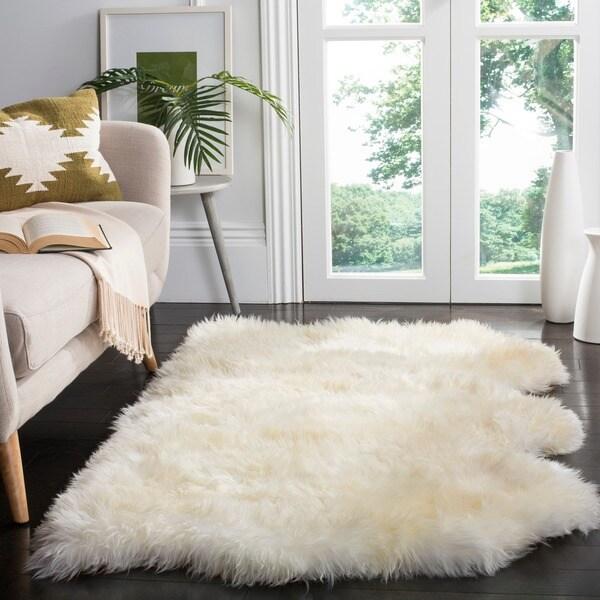 Safavieh Hand Woven Sheepskin Pelt White Shag Rug 3 X 5