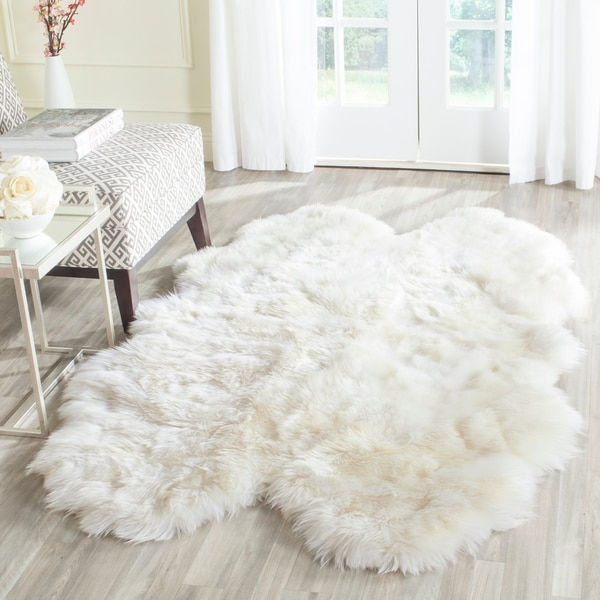 Shop Safavieh Hand Woven Sheepskin Pelt White Shag Rug 4