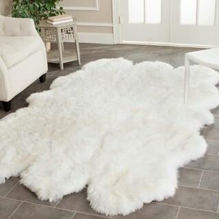 Safavieh Hand-woven Sheepskin Pelt White Shag Rug (5' x 8')