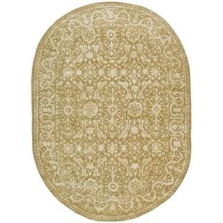Safavieh Handmade Silk Road Ivory Wool/ Viscose Rug - 4'6' x 6'6 oval