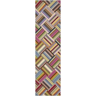Safavieh Hand-woven Straw Patch Pink/ Multi Wool Rug (2'3 x 8')