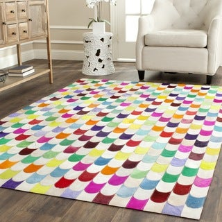 Safavieh Hand-woven Studio Leather Contemporary Ivory/ Multicolored Rug (4' x 6')