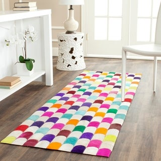 Safavieh Hand-woven Studio Leather Contemporary Ivory/ Multicolored Rug (5' x 8')