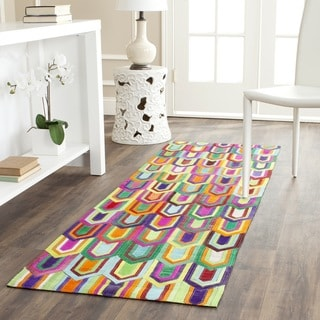 Safavieh Hand-woven Studio Leather Contemporary Ivory/ Multicolored Rug (2'3 x 7')