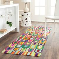 """Safavieh Hand-woven Studio Leather Contemporary Ivory/ Multicolored Rug - 2'3"""" x 7'"""