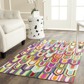 Safavieh Hand-woven Studio Leather Contemporary Ivory/ Multicolored Rug (3' x 5')