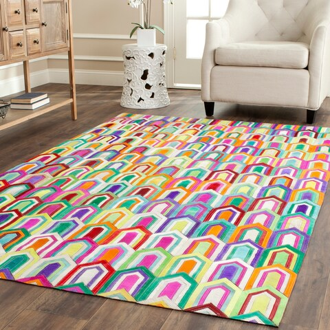 Safavieh Hand-woven Studio Leather Contemporary Ivory/ Multicolored Rug - 5' x 8'