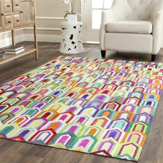 Safavieh Hand-woven Studio Leather Contemporary Ivory/ Multicolored Rug (8' x 10')