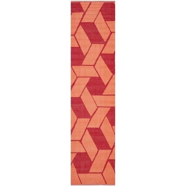 Thom Filicia Hand-woven Indoor/ Outdoor Blood/ Orange Rug - 2' x 12'