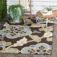 "Safavieh Veranda Piled Indoor/ Outdoor Chocolate/ Aqua Rug - 6'7"" x 9'6"""