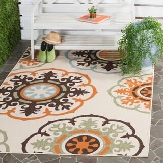 "Safavieh Veranda Piled Indoor/Outdoor Cream/Terracotta Polypropylene Rug (6'7"" x 9'6"")"