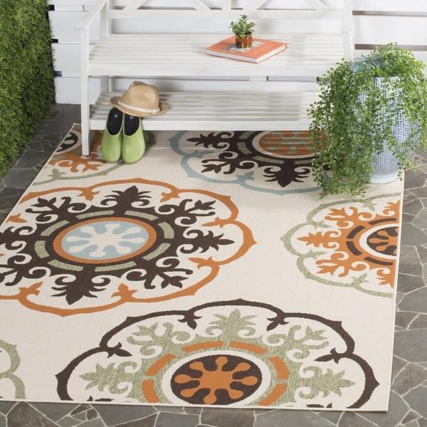 Safavieh Veranda Piled Indoor/Outdoor Cream/Terracotta Area Rug - 8' x 11'2'