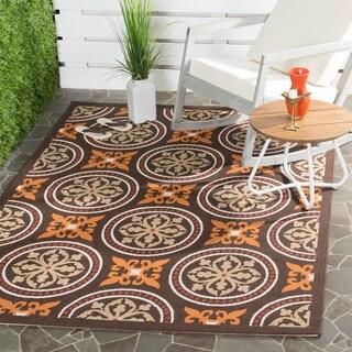 "Contemporary Safavieh Veranda Piled Indoor/Outdoor Chocolate/Terracotta Rug (5'3"" x 7'7"")"